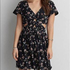 American Eagle Outfitters floral cutout dress
